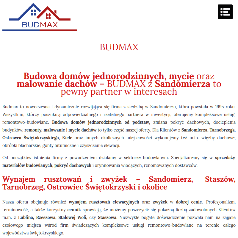 Wynajem rusztowań elewacyjnych - Sandomierz